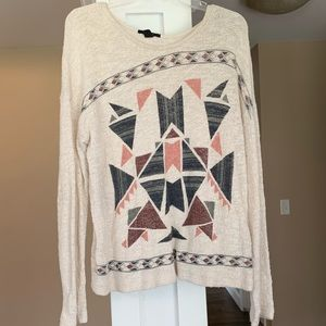 Forever 21 Tribal Print Knit Sweater Top Large